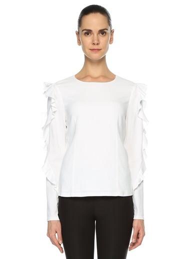 Club Monaco Kolları Volanlı Bluz Beyaz